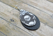 Load image into Gallery viewer, SKULLS WITH BLACK FAUX LEATHER EARRINGS - TEARDROP - Handmade Creations by Liz