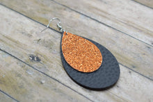 Load image into Gallery viewer, ORANGE SHIMMER AND BLACK FAUX LEATHER EARRINGS - TEARDROP - Handmade Creations by Liz