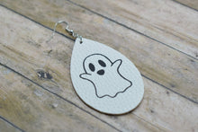 Load image into Gallery viewer, HALLOWEEN WHITE WITH GHOST FAUX LEATHER EARRINGS - TEARDROP - Handmade Creations by Liz