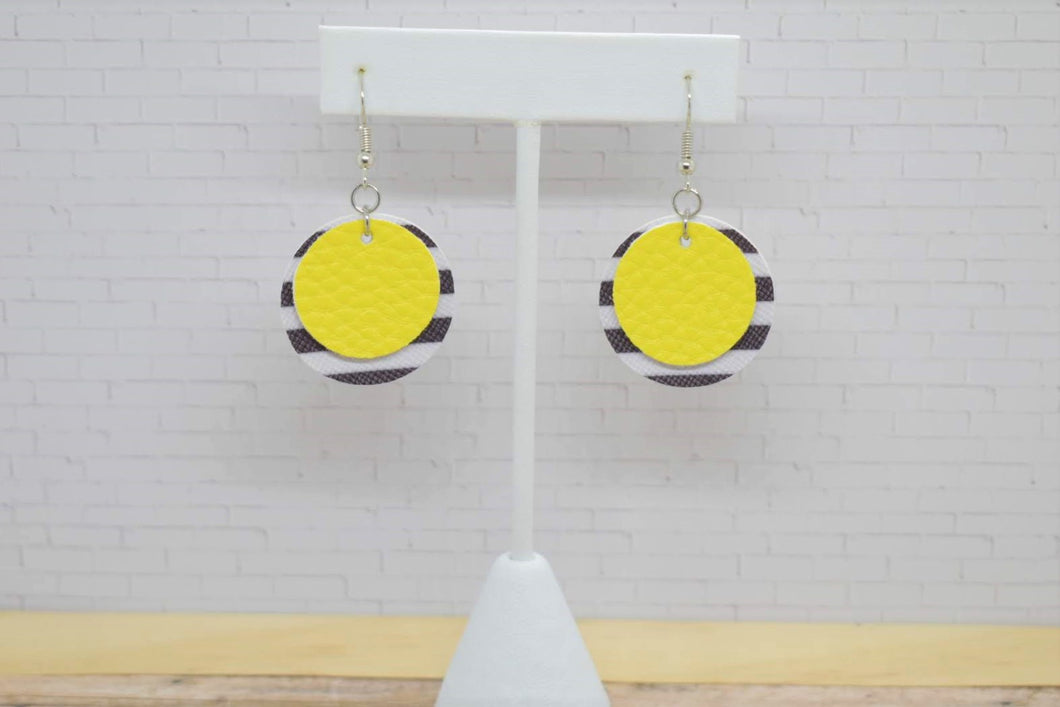 YELLOW WITH BLACK AND WHITE STRIPES FAUX LEATHER EARRINGS - CIRCLE