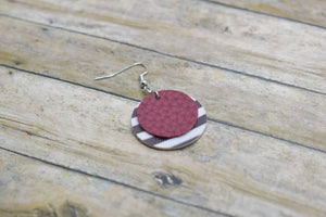 BURGUNDY WITH BLACK AND WHITE STRIPES FAUX LEATHER EARRINGS - CIRCLE