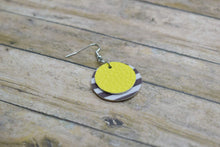 Load image into Gallery viewer, YELLOW WITH BLACK AND WHITE STRIPES FAUX LEATHER EARRINGS - CIRCLE