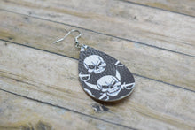 Load image into Gallery viewer, SKULLS FAUX LEATHER EARRINGS - TEARDROP - Handmade Creations by Liz