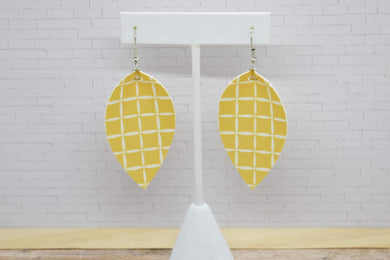 MUSTARD SQUARES FAUX LEATHER EARRINGS - MAGNOLIA