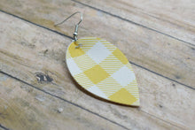 Load image into Gallery viewer, MUSTARD BUFFALO CHECK FAUX LEATHER EARRINGS - MAGNOLIA