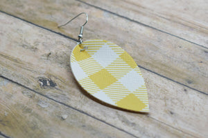 MUSTARD BUFFALO CHECK FAUX LEATHER EARRINGS - MAGNOLIA