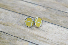 Load image into Gallery viewer, MUSTARD SQUARES FAUX LEATHER STUD EARRINGS