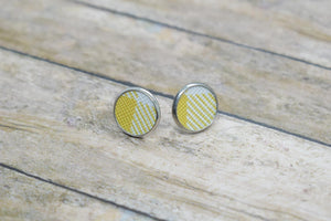 MUSTARD BUFFALO CHECK FAUX LEATHER STUD EARRINGS