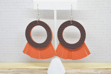 BROWN AND ORANGE FAUX LEATHER EARRINGS - HOOP AND TASSEL