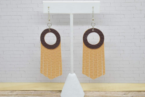 BROWN AND LATTE FAUX LEATHER EARRINGS - HOOP AND TASSEL