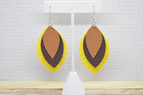 LIGHT BROWN, BROWN AND YELLOW FAUX LEATHER EARRINGS - FRINGE