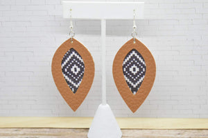 LIGHT BROWN WITH BLACK AND WHITE PIXEL PATTERN FAUX LEATHER EARRINGS - LEAF