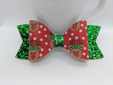 RED REINDEER AND POLKADOTS AND GREEN GLITTER FAUX LEATHER BOW - Handmade Creations by Liz