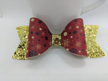 Load image into Gallery viewer, RED WITH SNOWFLAKES AND GOLD GLITTER FAUX LEATHER BOW - Handmade Creations by Liz