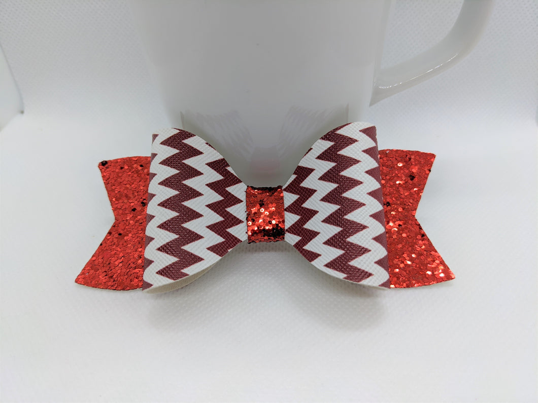 RED AND WHITE ZIG ZAGS AND RED GLITTER FAUX LEATHER BOW - Handmade Creations by Liz