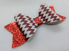 Load image into Gallery viewer, RED AND WHITE ZIG ZAGS AND RED GLITTER FAUX LEATHER BOW - Handmade Creations by Liz