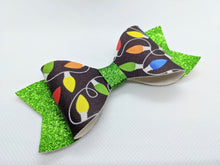 Load image into Gallery viewer, CHRISTMAS LIGHTS AND GREEN GLITTER FAUX LEATHER BOW - Handmade Creations by Liz