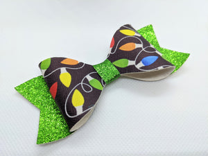 CHRISTMAS LIGHTS AND GREEN GLITTER FAUX LEATHER BOW - Handmade Creations by Liz