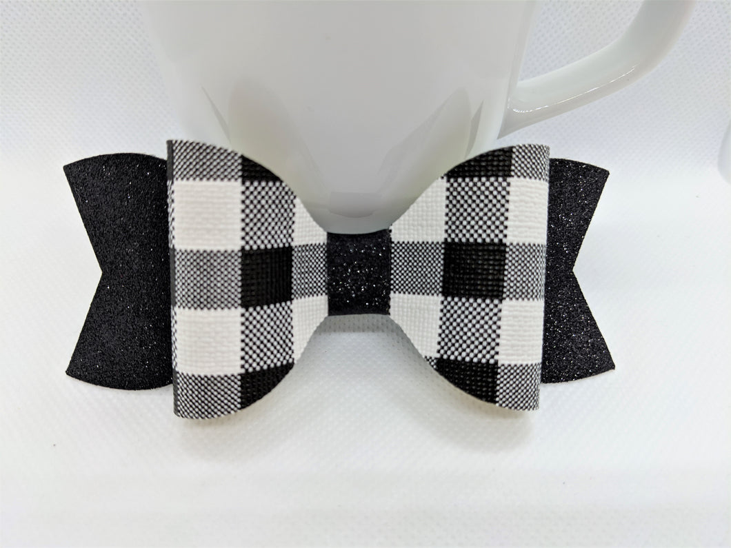 WHITE BUFFALO CHECK AND BLACK SHIMMER FAUX LEATHER BOW - Handmade Creations by Liz