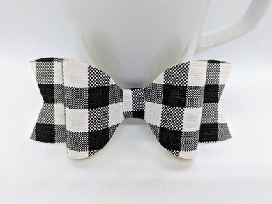WHITE BUFFALO CHECK FAUX LEATHER BOW - Handmade Creations by Liz