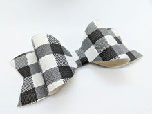 Load image into Gallery viewer, WHITE BUFFALO CHECK FAUX LEATHER BOW - Handmade Creations by Liz