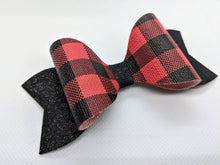 Load image into Gallery viewer, RED BUFFALO CHECK AND BLACK SHIMMER FAUX LEATHER BOW - Handmade Creations by Liz