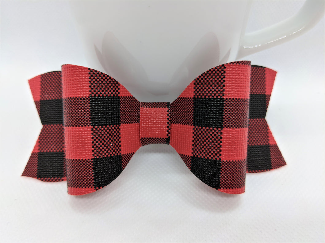 RED BUFFALO CHECK FAUX LEATHER BOW - Handmade Creations by Liz