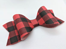 Load image into Gallery viewer, RED BUFFALO CHECK FAUX LEATHER BOW - Handmade Creations by Liz