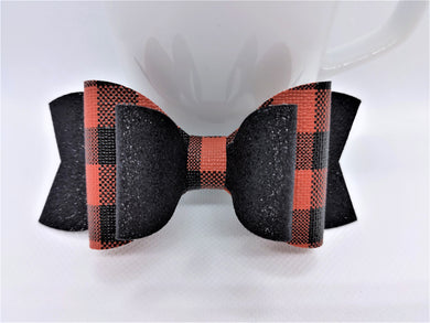 RED BUFFALO CHECK AND BLACK SHIMMER FAUX LEATHER BOW - Handmade Creations by Liz