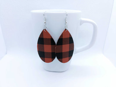 FAUX LEATHER TEARDROP EARRINGS - RED BUFFALO CHECK - Handmade Creations by Liz