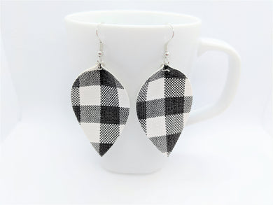 FAUX LEATHER PETAL EARRINGS - WHITE BUFFALO CHECK - Handmade Creations by Liz