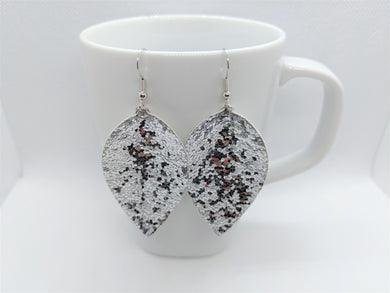 FAUX LEATHER EARRINGS - SILVER GLITTER - Handmade Creations by Liz