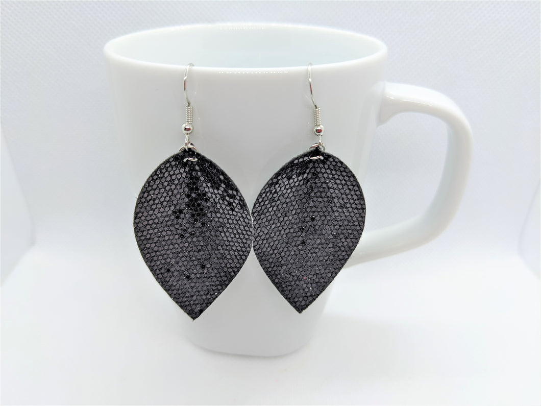 FAUX LEATHER EARRINGS  - BLACK HONEYCOMB GLITTER - Handmade Creations by Liz