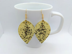 GOLD GLITTER FAUX LEATHER EARRINGS - MAGNOLIA - Handmade Creations by Liz