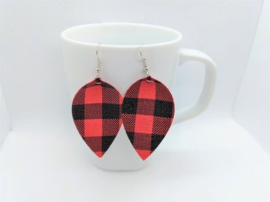 FAUX LEATHER EARRINGS - RED BUFFALO CHECK - Handmade Creations by Liz