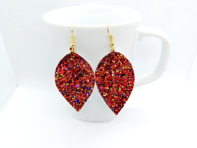 FAUX LEATHER EARRINGS - RED PARTY GLITTER - Handmade Creations by Liz