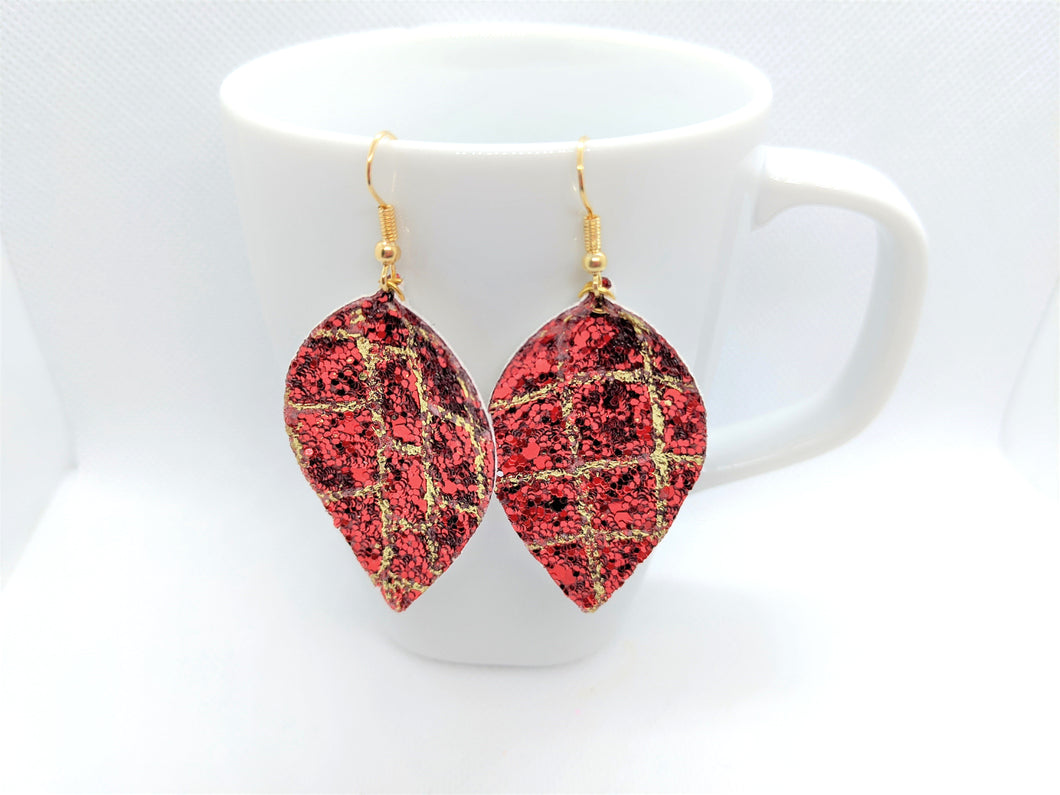 FAUX LEATHER EARRINGS - RED AND GOLD GLITTER GATOR PATTERN - Handmade Creations by Liz