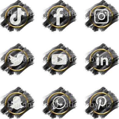 BLACK, GOLD AND MARBLE SOCIAL MEDIA ICONS