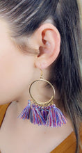 Load image into Gallery viewer, BLUE COLORS TASSEL HOOP EARRINGS - Handmade Creations by Liz
