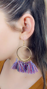 BLUE COLORS TASSEL HOOP EARRINGS - Handmade Creations by Liz