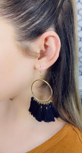 BLACK TASSEL HOOP EARRINGS - Handmade Creations by Liz