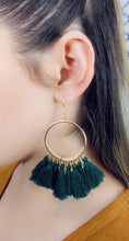 Load image into Gallery viewer, GREEN TASSEL HOOP EARRINGS - Handmade Creations by Liz
