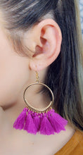 Load image into Gallery viewer, PURPLE TASSEL HOOP EARRINGS - Handmade Creations by Liz