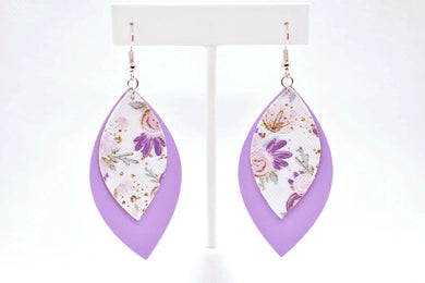 FAUX LEATHER EARRINGS - LILAC FLOWER PATTERN AND LILAC - Handmade Creations by Liz