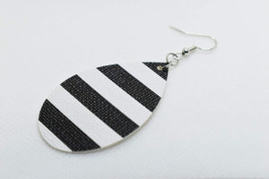 FAUX LEATHER TEARDROP EARRINGS - WHITE AND BLACK STRIPES - Handmade Creations by Liz