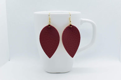 FAUX LEATHER EARRINGS - BURGUNDY LEAF - Handmade Creations by Liz