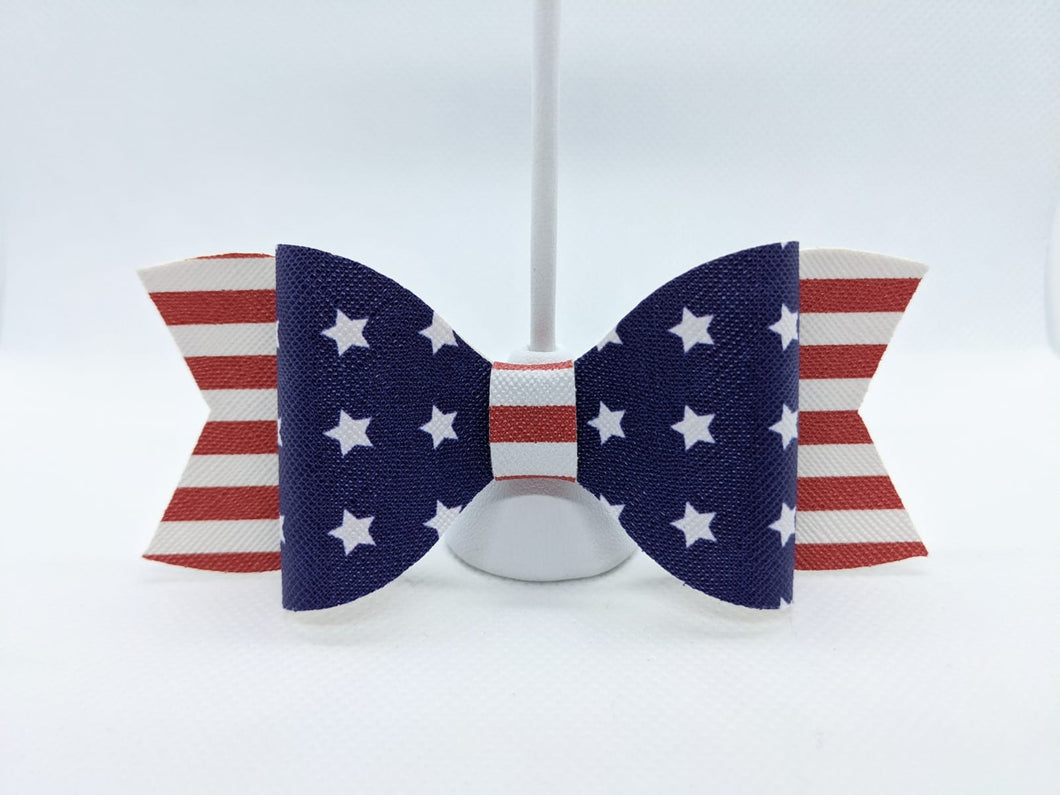 STARS AND STRIPES - FAUX LEATHER BOW - Handmade Creations by Liz