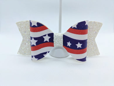 RED, WHITE GLITTER, AND BLUE - FAUX LEATHER BOW - Handmade Creations by Liz