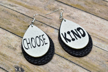 "Load image into Gallery viewer, ""CHOOSE KIND"" WHITE AND BLACK FAUX LEATHER EARRINGS - TEARDROP - Handmade Creations by Liz"
