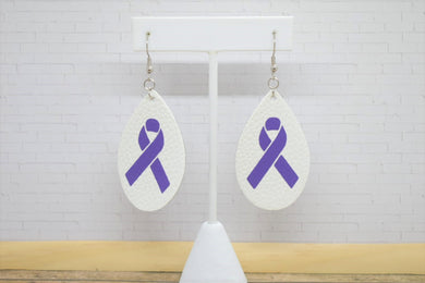 ALZHEIMER AWARENESS WHITE FAUX LEATHER EARRINGS - TEARDROP